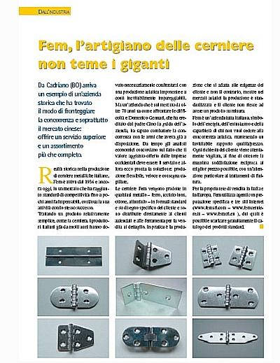 Articolo pubblicato sulla rivista Ferramenta & Casalinghi